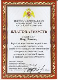 """Благодарность Директору ООО НПК """"Секьюрити Центр С&Т"""""""