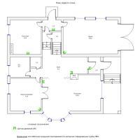 Схема монтажа охранной сигнализации коттеджа, 1-й этаж (эконом-вариант)
