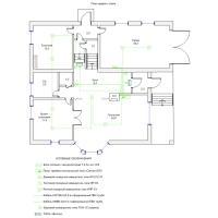Схема монтажа пожарной сигнализации коттеджа, 1-й этаж  (эконом-вариант)