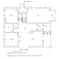 Схема монтажа системы видеонаблюдения коттеджа, 1-й этаж (эконом-вариант)