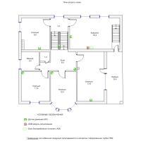 Схема монтажа охранной сигнализации коттеджа, 2-й этаж (эконом-вариант)