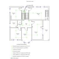 Схема монтажа пожарной сигнализации коттеджа, 2-й этаж (эконом-вариант)
