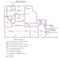 Схема монтажа пожарной сигнализации офисного помещения (эконом-вариант)