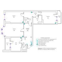 Схема монтажа охранной сигнализации и СКД трехкомнатной квартиры (эконом-вариант)