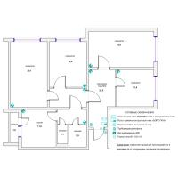 Схема монтажа охранной сигнализации и СКД четырехкомнатной квартиры (эконом-вариант)